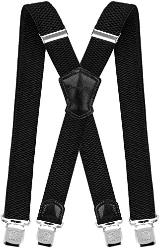 Decalen Mens Braces with Very Strong Metal Clips Wide 4 cm 1.5 inch Heavy Duty Suspenders One Size Fits All Men and Women Adjustable and Elastic X Form (Black)