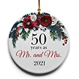 50 Years as Mr. and Mrs. Ceramic Christmas Tree Ornament Collectible Holiday Keepsake 2.875' Round Ornament in Decorative Gift Box with Bow- Perfect 50th Wedding