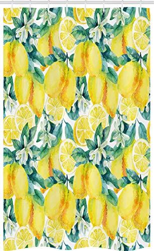 ABAKUHAUS Garten Schmaler Duschvorhang, Zitronen-Zitrus-Zweige, Badezimmer Deko Set aus Stoff mit Haken, 120 x 180 cm, Gelb