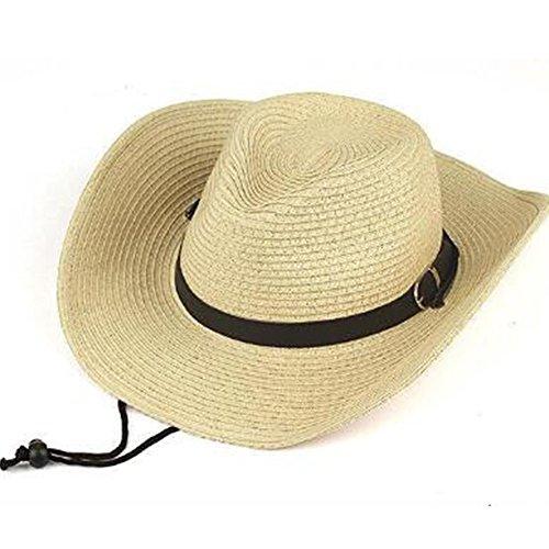 サンハット 男性 アウトドア 麦わら ビーチ帽 春夏 日よけ帽子 自転車 あごひも付き おでかけ ゴルフ 遠足 通気性 メンズ 帽子 つば広 釣り帽 おしゃれ ストローハット56-58cm (ベージュ)