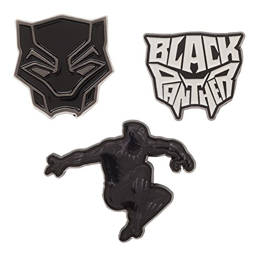 Marvel Comics Super Heros Lapel Enamel Metal Mini Pin Badge Set (Black Panther Black)