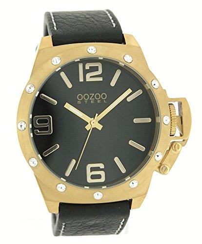 Oozoo Steel OS0129 XXL Herrenuhr schwarz/g/strass - 52 mm