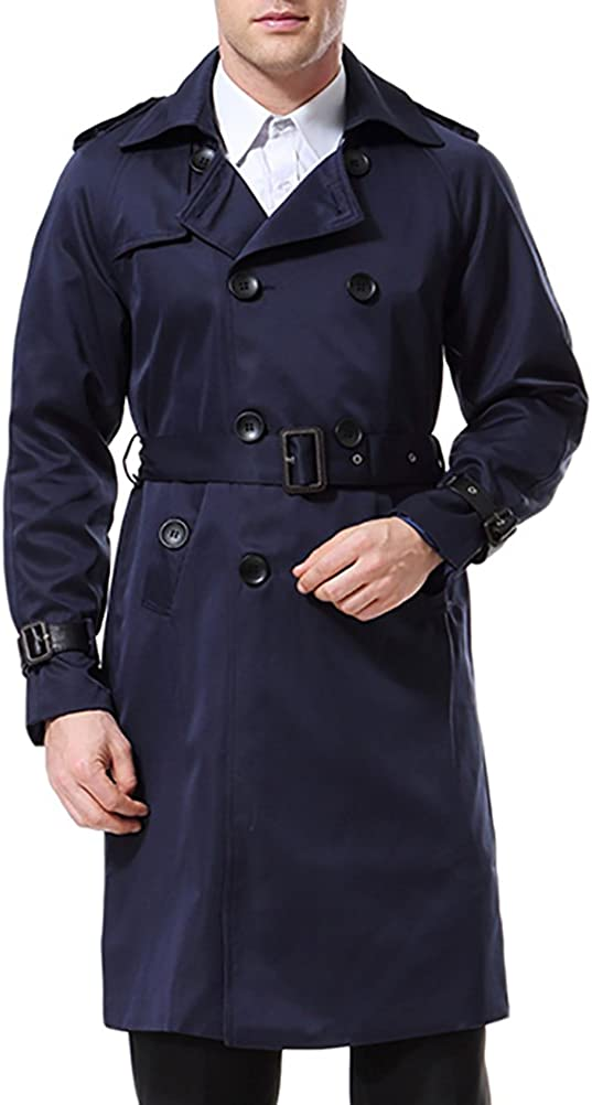 Men's Double Breasted Trenchcoat Stylish Fit Regular store Reservation Mid Belte Slim Long