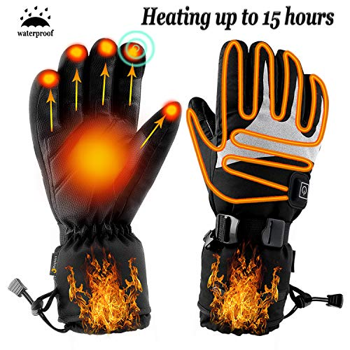 Heated Gloves for Men Women - Electric Heating Motorcycle Gloves, Rechargeable Battery Heated ski Gloves for Winter Outdoor Hunting.