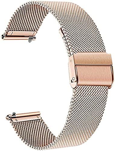 JOOLEE Correa de reloj de pulsera de 18 mm, 20 mm, 22 mm, cierre rápido, correa de repuesto de malla tejida de acero inoxidable y metal, para hombre y mujer, 18 mm, oro rosa, 18 mm, oro rosa