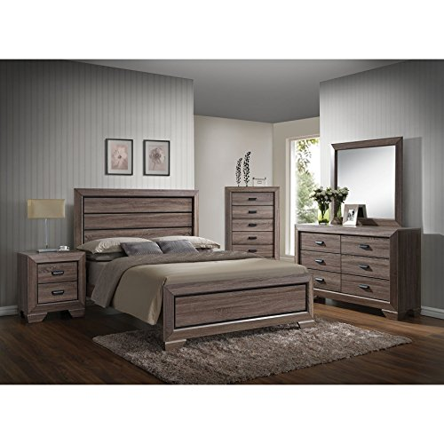 ACME Furniture 26020Q Lyndon Bed, Queen, Weathered Gray Grain