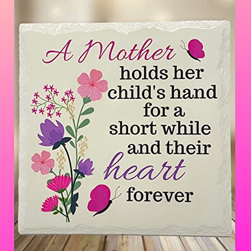 mom plaques BANBERRY DESIGNS Mom Desktop Message Plaque – A Mother Holds Her Child's Hand for a Short While and Their Heart Forever Saying - Mothers Day Birthday Idea