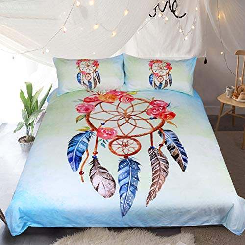 2 Personnes Luxe 3 Pièces Crâne Floral Housse de Couette, Bleu Gris Parures de Lit Mandala l'éléphant Cerf Bohême Blanc Parures de Lit avec Taie d'oreiller (Attrapeur de rêves, 220x240cm)