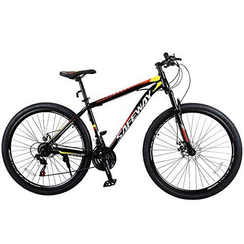 Bicicleta Aro 29 Safeway Aço Carbono 21 marchas Shimano Freio a Disco e Suspensão Preto e Vermelho