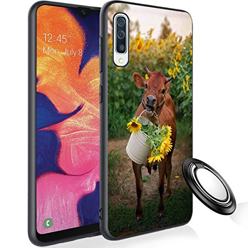 Galaxy A50 Case with Phone Ring Holder, Cow and Sunflower Rubber Full Body Protection Shockproof Cover Case Drop Protection Case for Samsung Galaxy A50 2019
