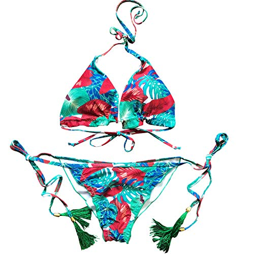 YANFANG Traje de baño Atractivo de la Manera de Las señoras Traje de baño Atractivo del Bikini de la división de la Correa del Halter con Estampado a Cuadros de Color Rojo y Azul