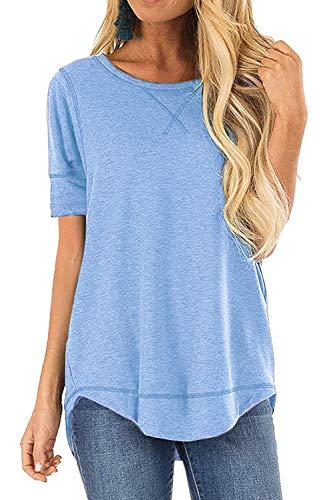 JomeDesign Blouses for Women Short Sleeve Side Split Casual Loose Tunic Top LightBlue Small