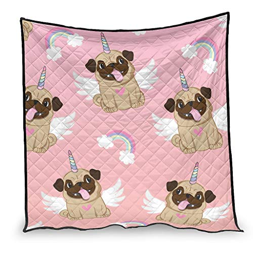 OwlOwlfan Unicorn Pug Anti Allergy Easy Care Comfort Cool Quilt Bedspread for Winter Additional Warmth white 200x230cm