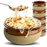 Stock Your Home French Onion Soup Crocks (6 Count) - 12 Ounce Oven Safe French Onion Soup Bowls - Two-Toned Brown & Ivory Ceramic Porcelain Soup Bowls