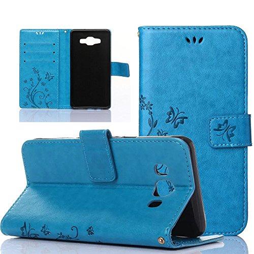EMAXELERS Funda Samsung A5 2015 Premium PU Cuero Cartera para Tarjetas y Cierre Magnetico Soporte Plegable Funda para Samsung Galaxy A5 2015 Blue Butterfly