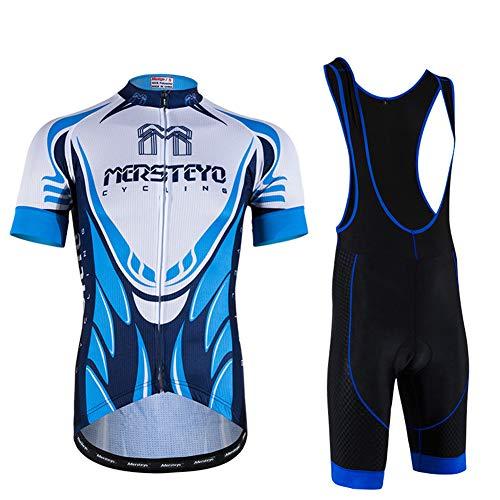 IJNUHB Fietsshirt voor heren, korte mouwen, fietsfietsshirt Sets fietsbroek voor jongens, fietsshirt met korte broek, met gelgewatteerde lichte ademende buitensport