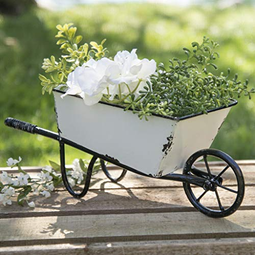 Decorative Wheelbarrow Planter White Metal 12.5
