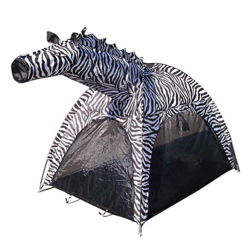 ROCK1ON Zebra Kids Pop-Up Play Tent– Indoor/Outdoor Playhouse for Boys and Girls – Promotes Early Learning, Social Bonding, Imagination Building and Roleplay – Easy Setup