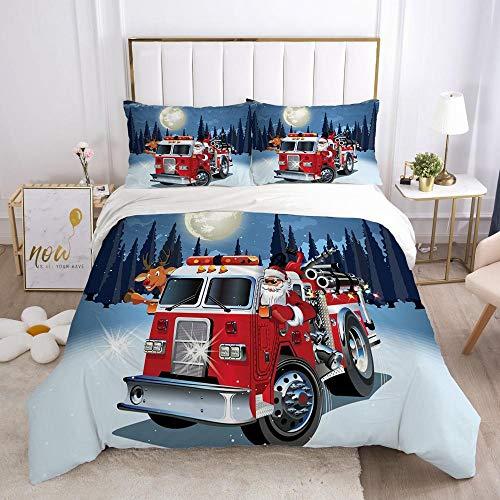 Påslakan Set Dubbelsäng 3PCS Tecknad kreativ brandbil jultomten Easy Care påslakan 260x220cm med 2 örngott 50 x 75 cm - Mjuk mikrofiber sängkläder med blixtlås