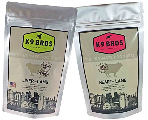 K9 Bros Two Pack Liver of Lamb and Heart Jerky Dog Treats Made in The USA Human Grade
