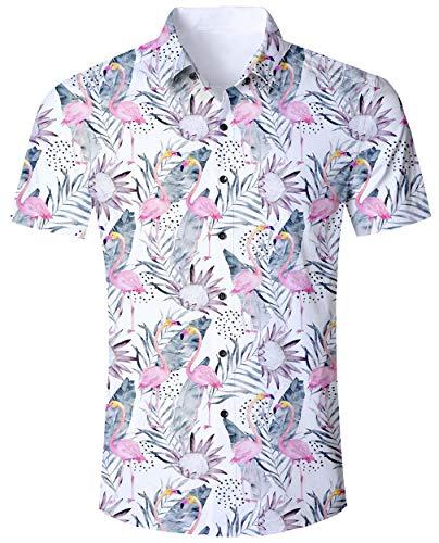 ALISISTER Camisa Hawaiana Flamingo Tropical 3D Patrón de Ca