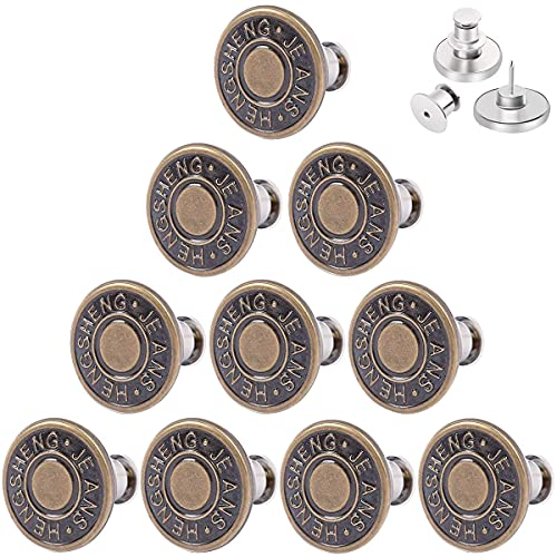 [Upgraded] CarlCard 10PCS Button Pins for Jeans, Perfect Fit Jean Button Replacement, Adjustable Jean Button Pins Metal Clips Snap Tack No Sew Instant Extend or Reduce Any Pants Waist (Bronze1)