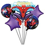 Party Hub Cartoon Theme Foil Balloons Bouquet (Set of 5) for (Spiderman - 2)