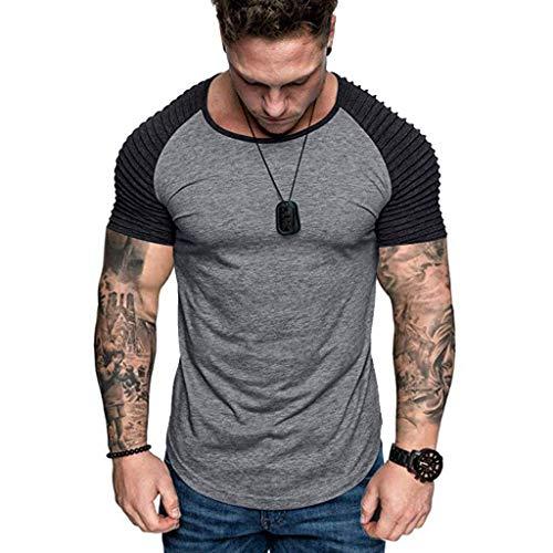 Men Summer Blouse, JOYFEEL Casual Patchwork Slim Fit Raglan Shirt Pleats Short Sleeve Pattern Outdoor Sport Top Dark Gray