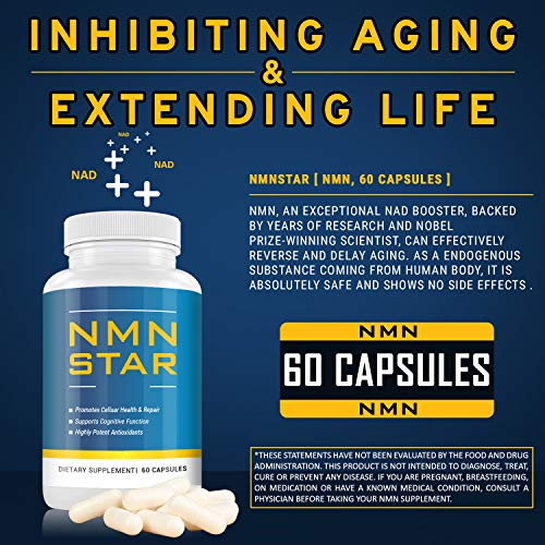 51Mgw9igXQL - Ultra High Purity NMN Nicotinamide Mononucleotide Supplement, 300mg Capsule, Stabilized Form, Naturally Boost NAD+ Levels for Cellular Repair, Energy & Anti Aging, 60 Count