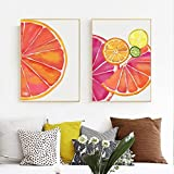 Rudxa Orange Canvas Painting Poster Prints Picture Canvas Painting For Kids Room Decor-40x60cmx2 sin Marco