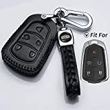 Hey Kaulor Leather for Cadillac 2000-2018 Escalade cts SRX xt5 ATS STS CT6 Smart Prox Remote Key fob Cover case Holder only for 5 Buttons