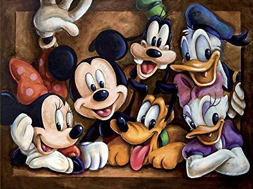 NAXIEE DIY 5D Diamant Malerei Kits für Erwachsene, Disney Mickey Mouse und Donald Duck Vollbohrer Kristall Strass Stickerei für Home Wall Decor, 50 * 40 cm