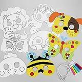 Hifot 8 pacchi Caretas Máscaras para Colorear Maschere per gli occhi con Carta Bianca Color in Animal Face Masks con Corda Elastica affinchè i Bambini facciano o decorino