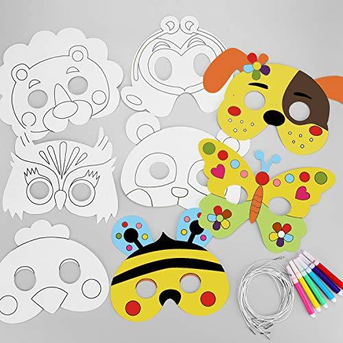 Hifot 8 Pack Masken zum Ausmalen Weiße Kartenaugenmasken Farbe in Tiergesichtsmasken mit elastischem Seil für Kinder zum Basteln oder Dekorieren