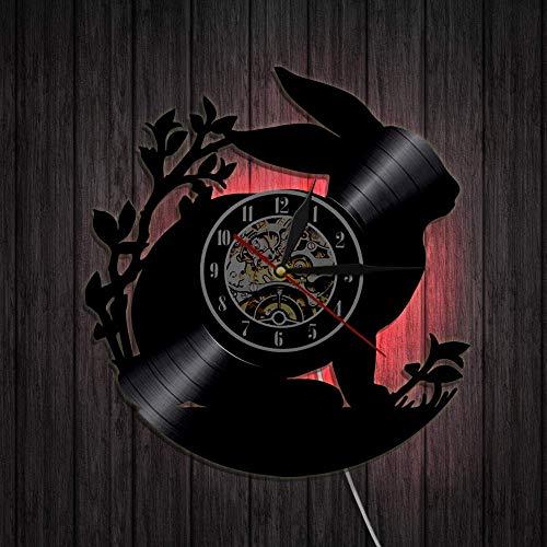 showyow Reloj de Pared con Disco de Vinilo de 12 Pulgadas, diseño de Conejito, Regalo Maravilloso para Cualquier ocasión, Personalidad, decoración de Pared para niños