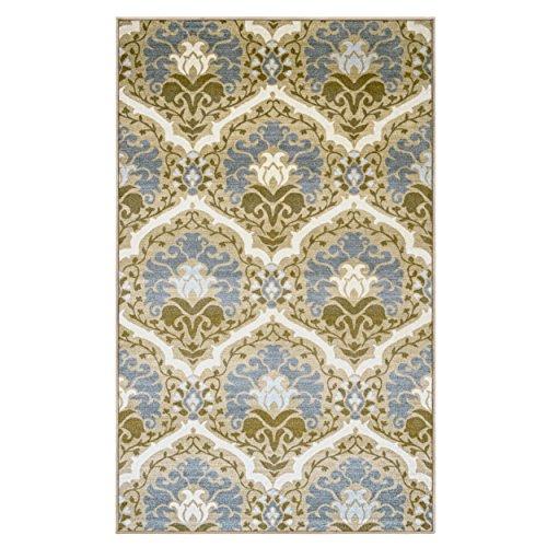 BLUENILEMILLS Milliron Area Rug, Floral Damask Pattern, Elegant, Soft, Durable, Non-Slip, Foam Backing, Contemporary, Taupe, 4' x 6'