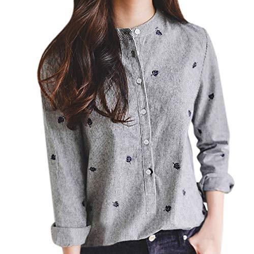 Longra dameshemd, borduurwerk, lange mouwen, tanktop, vintage, bohemium, crop, top, bloes, katoen, gestreept, hemd, slim fit