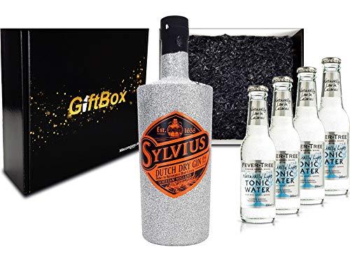 Gin Tonic Giftbox Geschenkset - Sylvius Dutch Gin Bling Bling Glitzerflasche Silber 0,7l 700ml (45% Vol) + 4x Fever Tree Naturally Light Tonic Water 200ml inkl. Pfand MEHRWEG - [Enthält Sulfite]