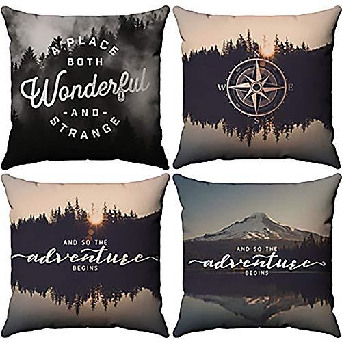 CEyyPD Funda de almohada de seda de 4 piezas de algodón y lino con diseño de gafas de inspiración natural para sofá, dormitorio o coche