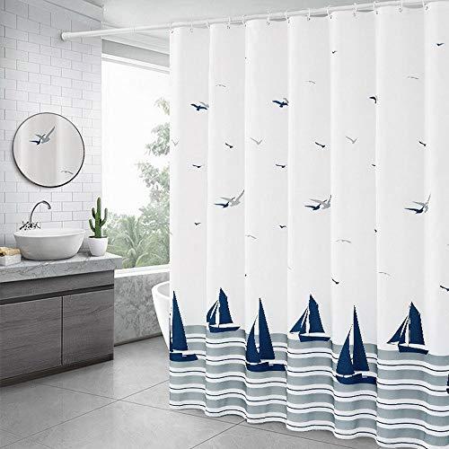 Xinyanmy Baden Wasserdichter Duschvorhang Seemöwe Segelboot Ozean inkl.14 Duschvorhangringe 100prozent Polyester Anti Schimmel Bad Vorhang für Badezimmer Badewanne 180x180cm(71