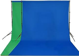 撮影背景布 両色背景布兼用 無反射 背景シーン 写真撮影 写真スタジオ 全身撮影用 背景布 布バック (200cm x 100cm, グリーン+ブルー)