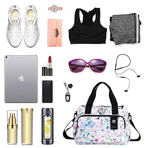 Women Lightweight Floral Tote Bag Multi-pocket Handbag Work Travel Shoulder Bag
