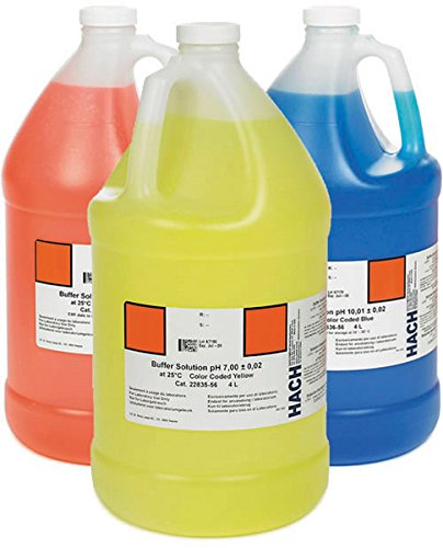 Hach 2507200 Ph Buffer Solution Kit, Color-Coded, Ph 4.01, Ph 7.00 and Ph 10.01