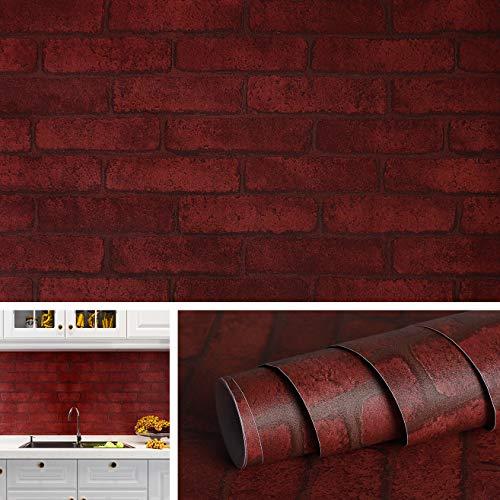 Livelynine Selbstklebende Tapete Steinoptik Rot Ziegelstein Wandtapete Selbstklebende Folie für Wände Klebefolie Küchenrückwand Spritzschutz Küche Deko Kamin Elektrisch Wohnzimmer Küchenwand 40CMx2M
