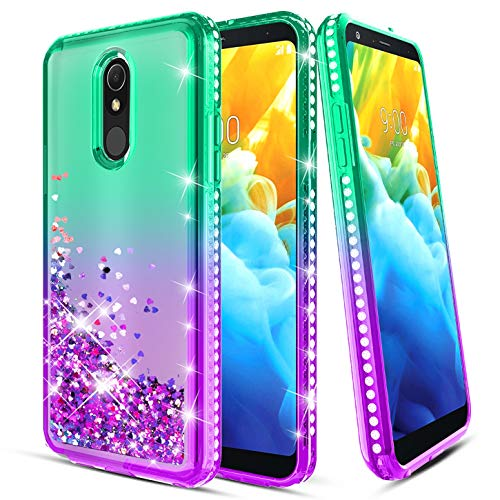 LG Stylo 5 Case, LG Stylo 5 Phone Case with Screen Protector Glitter Liquid Floating Quicksand Diamond Flowing Shiny Sparkle Bling Shockproof Cover for Girls Women, Mint/Purple