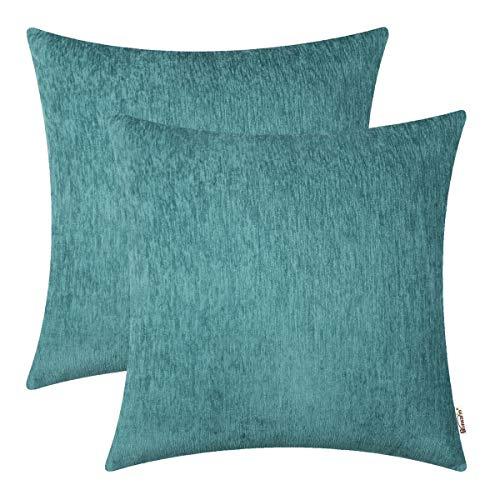 BRAWARM 2 bequeme Kissenbezüge für Couch, Sofa, Heimdekoration, einfarbig, gestreift, weich, Chenille, 40,6 x 40,6 cm, Blaugrün