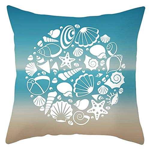 Cenliva Pillow Case Custom, Large Pillow Protectors Blue White Pillow Cover Polyester Starfish Conch Shell 45x45CM 18x18IN