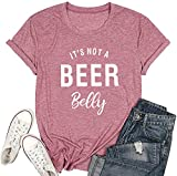 It's not a Beer Belly T Shirt Women Pregnancy Announcement Shirt Letter Print O Neck Top Tee Blouse (Medium, Red)