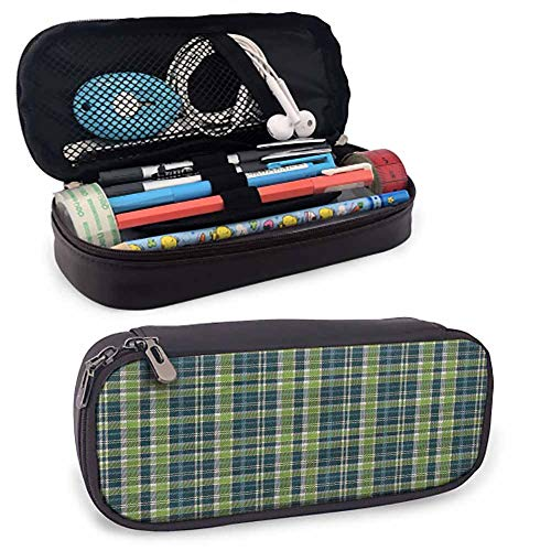 Plaid Students Stationery Pouch, Old Fashioned Pattern Folk for Pen, Pencil, Samsung, Huawei, Pen Accessories, USB Cable, Earphone, Fountain Pen 8'x3.5'x1.5'