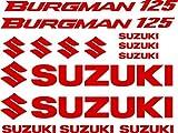 Kit Pegatina Adhesivo Vinilo 7 años Troquelado Compatible con Suzuki Burgman 125 Contiene 14 Pegatinas (Rojo)
